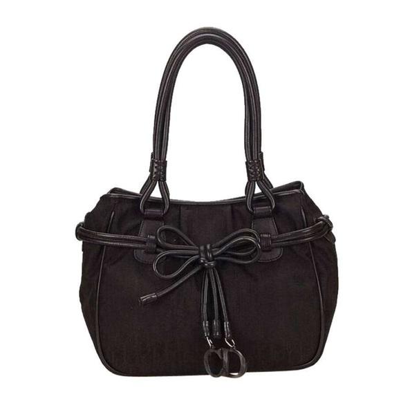 77dafda8f2b Dior Bags | Christian Black Nylon Logo Bow Cd Charm Bag | Poshmark
